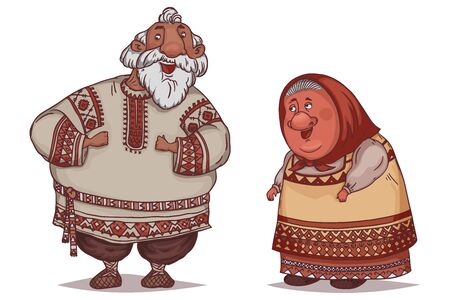 Couple of seniors dressed in traditional Russian folk costumes. Funny cartoon characters. Vector illustration Illustration