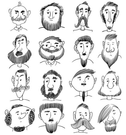 Portraits of various men with beard and mustache. Hand drawn doodle. Funny cartoon characters. Vector illustration