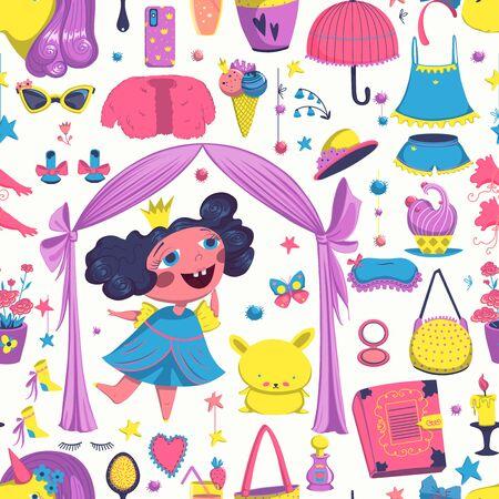 Seamless pattern with princess elements set. Girlish fashion design background. Vector illustration Illustration