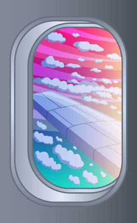 Scenic view of sunset, clouds and on the wing from aircraft window. Flying and traveling concept. Vector illustration Ilustração