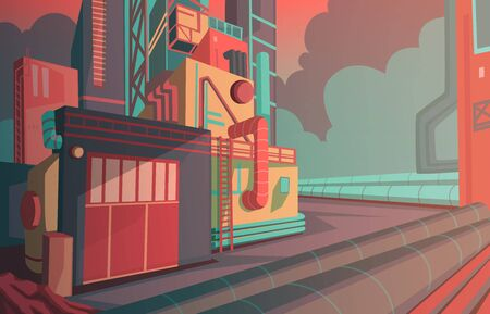 Industrial landscape with modern factory building and warehouse. industry zone with sunrise and cloudy sky. Vector illustration 向量圖像