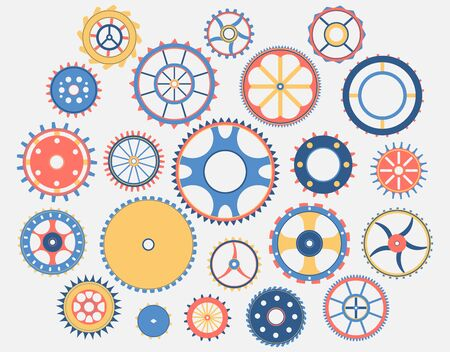 Collection of gears. Colorful isolated design elements. Vector illustration Illustration