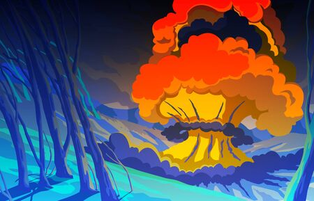 Nuclear explosion in the mountain landscape. Blast wave. Huge volumes of smoke and sparks of fire. Colorful scenery background. Vector illustration Illustration