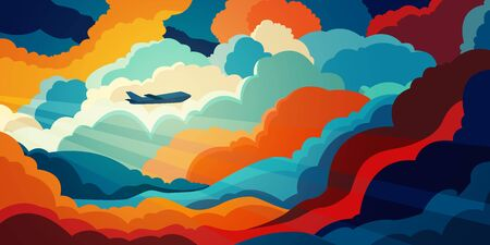 Airplane flying above beautiful clouds in sunset or sunrise light. Travel concept. Colorful vector illustration