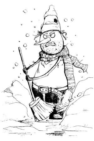 Angry snowman clean the snow. Funny cartoon character. Vector illustration Ilustração