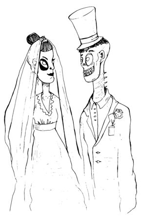 Ghost wedding. Skeletons in bride groom wedding dress. Funny cartoon characters. Vector illustration