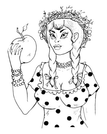 Pretty country girl with braids and wreath on her head holding a big apple in her hand. Vector illustration
