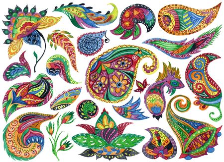 Watercolor paisley set. Oriental decorative design elements for fabric, prints, wrapping paper, card, invitation, wallpaper. Hand drawn illustration Banque d'images