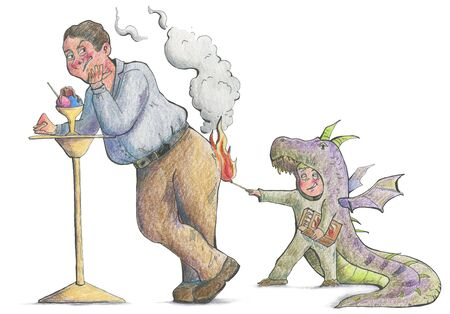 Boy in dragon costume playing with matches and trying to set fire to a man. Funny cartoon characters. Hand drawn illustration