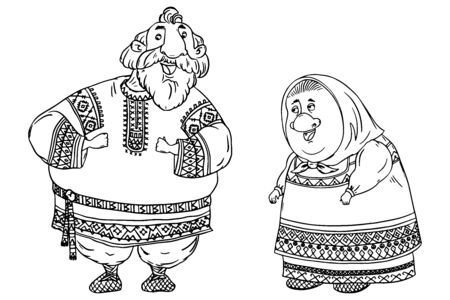 Couple of seniors dressed in traditional Russian folk costumes. Funny cartoon characters. Black and white vector illustration Illustration