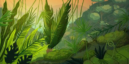 Wild tropical landscape at misty forest with jungle plants. Mysterious nature scenery in sunset or sunrise. Vector illustration Ilustração