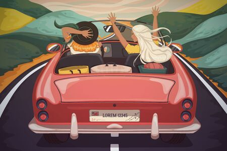 Happy young women travel by car. Girls laughing and enjoying with raised hands in car during a road trip. Vacation, holidays, travel, road trip concept. Vector illustration