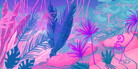 Wild tropical landscape at forest with jungle plants. Fantasy nature scenery in pink and purple colors. Ilustração