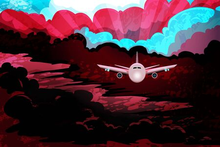 Airplane flying above storm clouds in dramatic light. Danger of a airplane crash in bad weather. Airliner makes a night flight in stormy weather. Vector illustration