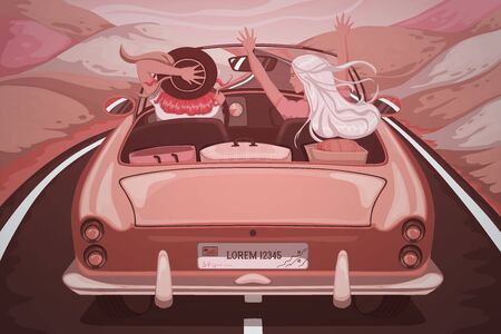 Women travel by car. Girls laughing and enjoying with raised hands in car during a road trip. Vacation, holidays, travel, road trip concept. Vintage scenery. Retro vector illustration Ilustração