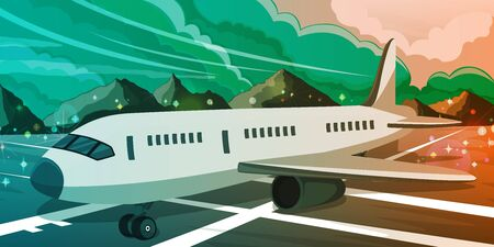 Commercial airplane standing on the airport runway at sunset. Night scenic view on the lights and clouds background. Flying and traveling concept. Vector illustration
