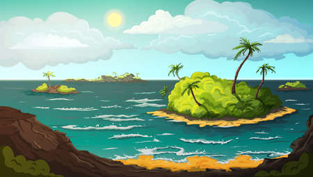 Landscape with islands in ocean. Tropical beach with mountains, palm trees, yellow sand, turquoise ocean water, blue sky and clouds. Sunny summer scenery background. Vector illustration