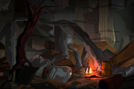 Apocalyptic landscape with a boy in a gas mask sitting by the fire in dark destroyed city. Fog dramatic night. Vector illustration