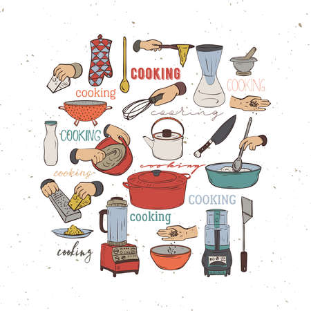 Kitchen utensils and appliances. Isolated elements on white background. Vector illustration in sketch style Ilustração