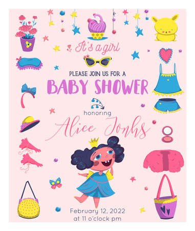 Baby Shower girl card design with princess elements set. Girlish fashion. Design template for birthday party, invitation, poster, greeting card. Vector illustration