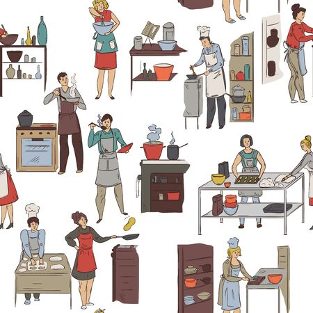 Seamless pattern with cooking people. Group of people preparing meals. Vector illustration in sketch style Ilustração