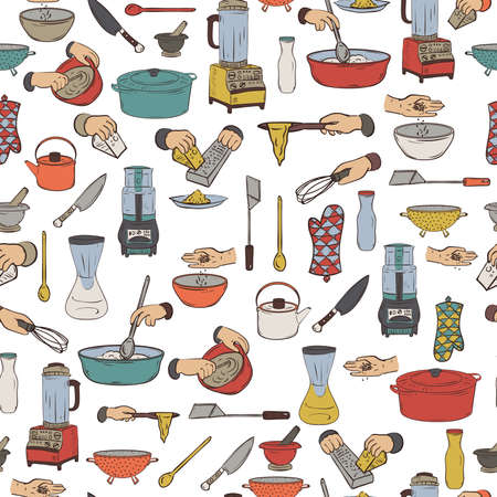 Seamless pattern with kitchen utensils and appliances. Isolated elements on white background.
