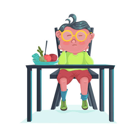 Sad boy do not want to eat meal. Cartoon character design. Child boring and disgust the food. Vector illustration