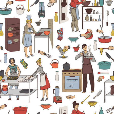 Seamless pattern with cooking people, kitchen utensils and appliances. Group of people preparing meals. Vector illustration in sketch style