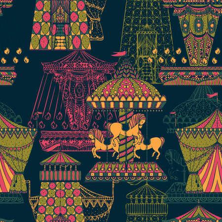Seamless pattern with carousel and tent. Funfair theme. Vintage hand drawn vector illustration Ilustração
