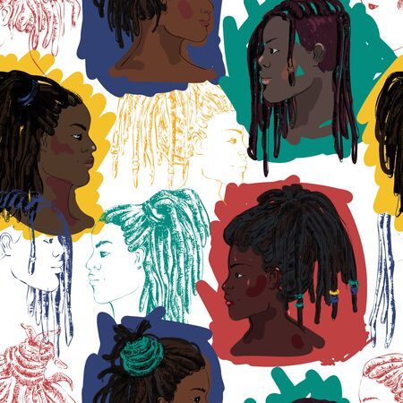Seamless pattern with portraits of beautiful African American men and women with dreadlocks in profile. Vector illustration in sketch style