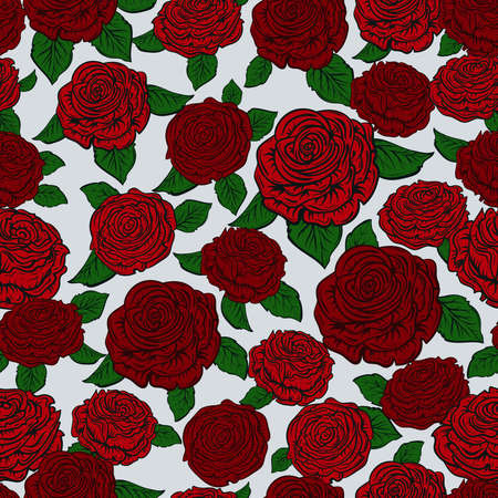 Seamless pattern with red roses. Design template for Mother's day, wedding invitation, save the date, birthday, valentines day. Vector illustration