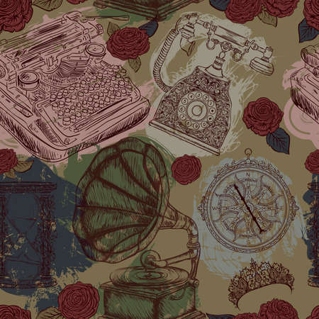 Seamless pattern with vintage objects. Typewriter, phone, hourglass, gramophone, compass, tiara, roses. Retro vector illustration