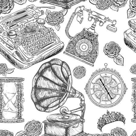Seamless pattern with vintage objects. Typewriter, phone, hourglass, gramophone, compass, tiara, roses. Black and white vector illustration Illusztráció