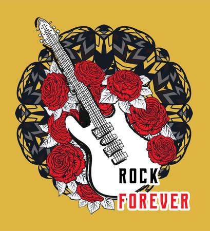 Rock forever. Guitar, red roses on ornate mandala background. Design concept for banner, card, sticker, t-shirt, print, tattoo, poster. Vector illustration Illustration