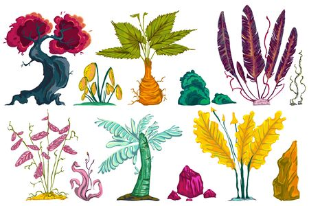 Fantasy tropical forest plants and stones set. Abstract exotic flowers, trees and plants. Isolated design elements on white background. Vector illustration