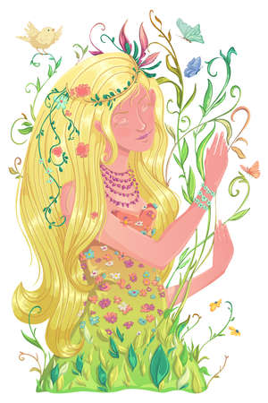 Portrait of beautiful spring girl with long blond hair and dress with flowers and leaves, butterflies, bird. Romantic female character. Design for banner, poster, card, invitation. Vector illustration
