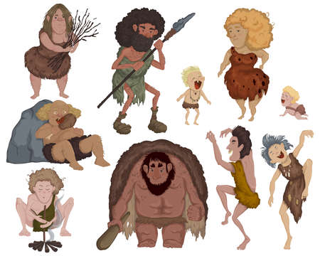 Prehistoric people set. Ancient cave family doing daily routine, hunting prey, eating, dancing. Funny cartoon characters. Isolated elements on white background.