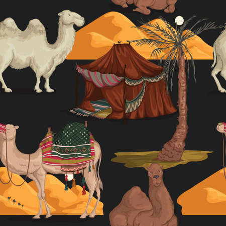 Seamless pattern with camels in different poses, sand dune of desert, nomad tent and palm tree. Vector illustration