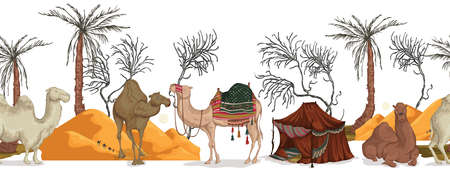 Seamless border with camels in different poses, sand dune of desert, nomad tent, dried and palm tree. Vector illustration Ilustração