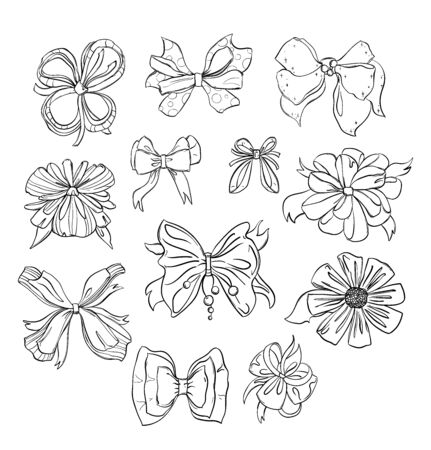 Fashion bows set in different styles. Isolated on white background. Black and white hand drawn vector illustration