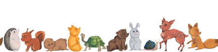Seamless border with forest animals. Hedgehog, squirrel, teddy bear, fox, turtle, rabbit, snail, deer. Cartoon characters. Isolated on white background. Vector illustration