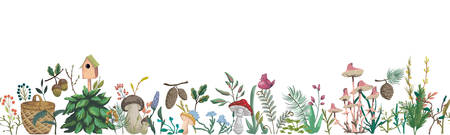 Seamless border with forest plants, berries, flowers, mushrooms, plant, berry, cones. Decorative elements of forest flora in watercolor style. Vector illustration Illustration
