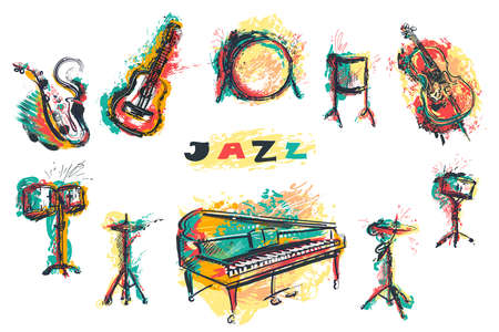 Jazz music party poster with musical instruments collection. Piano, saxophone, guitar, cello, drum kit in grunge watercolor style. Isolated elements on white background. Vector illustration