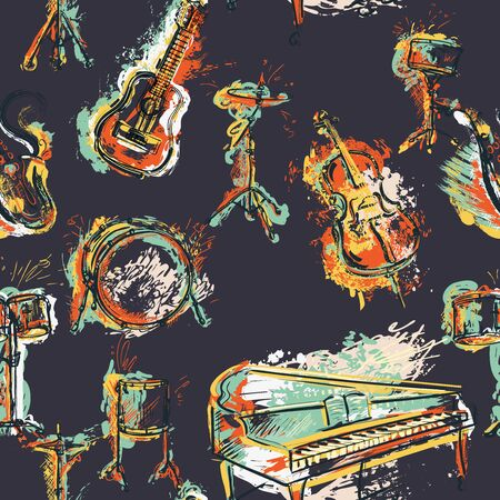 Seamless pattern with musical instruments set. Design concept for jazz music party. Piano, saxophone, guitar, cello, drum kit in grunge watercolor style. Vector illustration