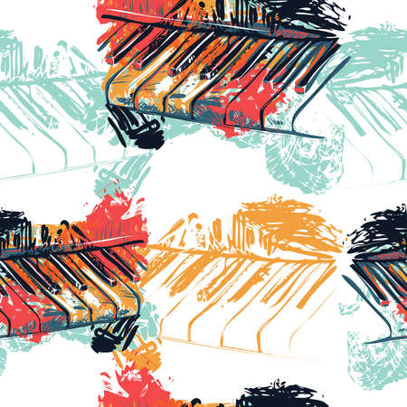 Seamless pattern with abstract piano keyboard in watercolor sketch style. Colorful hand drawn grunge style art for banner, card, t-shirt, fabric, print, wallpaper. Vector illustration