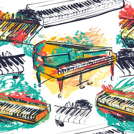 Seamless pattern with abstract piano keyboard, grand piano and synthesizer in watercolor sketch style. Colorful hand drawn grunge style art for fabric, print, wallpaper. Vector illustration Ilustração