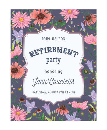 Retirement party invitation. Design template with bluebells, chamomile and daisy flowers. Rustic romantic floral background. Vintage vector botanical illustration in watercolor style Ilustração