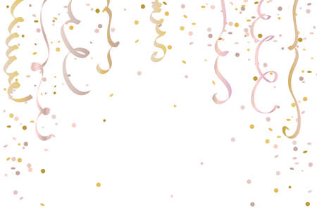 Rose gold confetti and serpentine frame background. Isolated on white background. Festive design template for card, poster, invitation, greeting, celebration. Vector illustration Ilustração