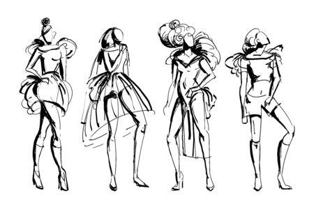 Stylish fashion models set. Abstract stylized female figures. Ink grunge sketch style. Isolated objects on white background. Vector illustration Illustration