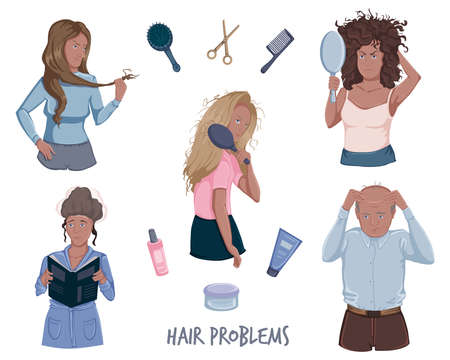 Portraits of people with hair problems set. Distressed, damaged hair, hair loss. Health and beauty concept. Isolated on white background. Vector illustration